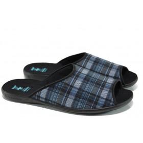 Домашни чехли - висококачествен текстилен материал - сини - EO-11030