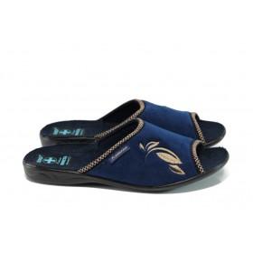 Домашни чехли - висококачествен текстилен материал - сини - EO-11023