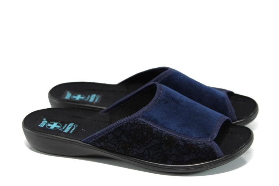Домашни чехли - висококачествен текстилен материал - сини - EO-11022