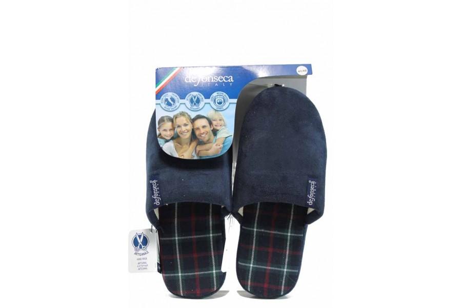 Домашни чехли - висококачествен текстилен материал - сини - EO-11236