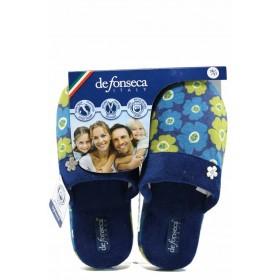 Дамски пантофи - висококачествен текстилен материал - сини - EO-11230