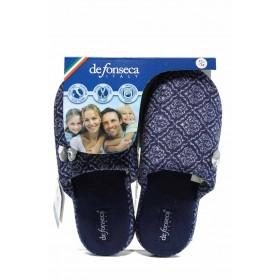Дамски пантофи - висококачествен текстилен материал - сини - EO-11234
