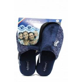 Дамски пантофи - висококачествен текстилен материал - сини - EO-11233