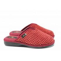 Дамски пантофи - висококачествен текстилен материал - бордо - EO-11592