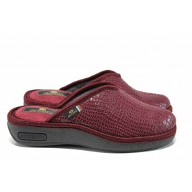 Дамски пантофи - висококачествен текстилен материал - бордо - EO-11593