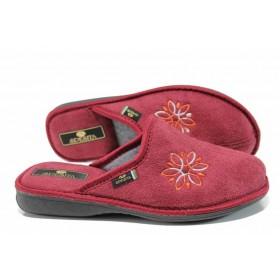 Дамски пантофи - висококачествен текстилен материал - бордо - EO-11588