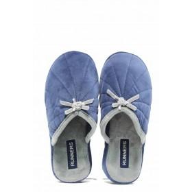 Домашни чехли - висококачествен текстилен материал - сини - EO-11695