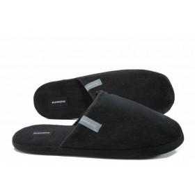 Домашни чехли - висококачествен текстилен материал - черни - EO-11711