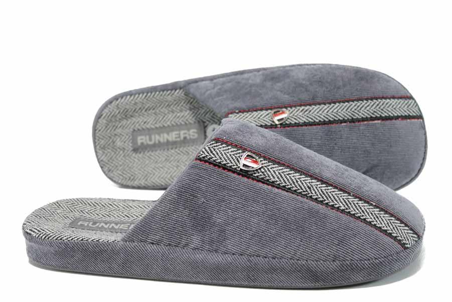 Домашни чехли - висококачествен текстилен материал - сиви - EO-11706