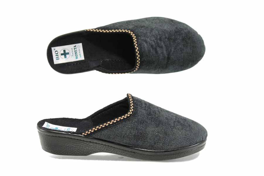 Дамски пантофи - висококачествен текстилен материал - черни - EO-11843
