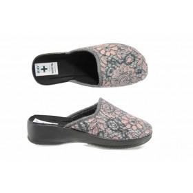 Дамски пантофи - висококачествен текстилен материал - бордо - EO-11841