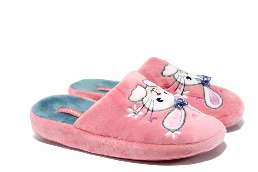 Детски чехли - висококачествен текстилен материал - розови - EO-12002