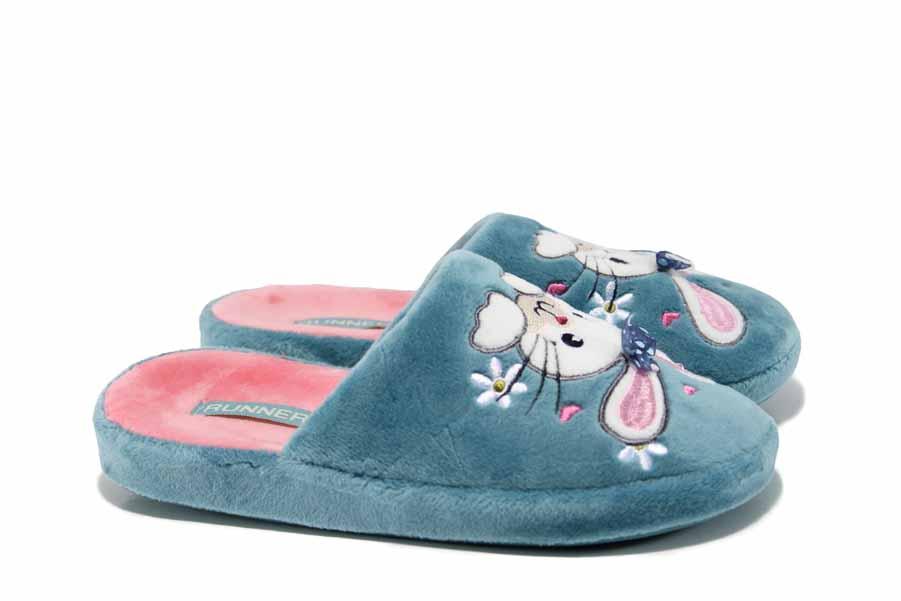 Детски чехли - висококачествен текстилен материал - сини - EO-12003