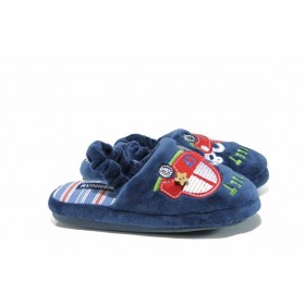 Детски чехли - висококачествен текстилен материал - сини - EO-12000