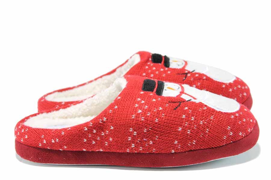 Дамски пантофи - висококачествен текстилен материал - червени - EO-11992