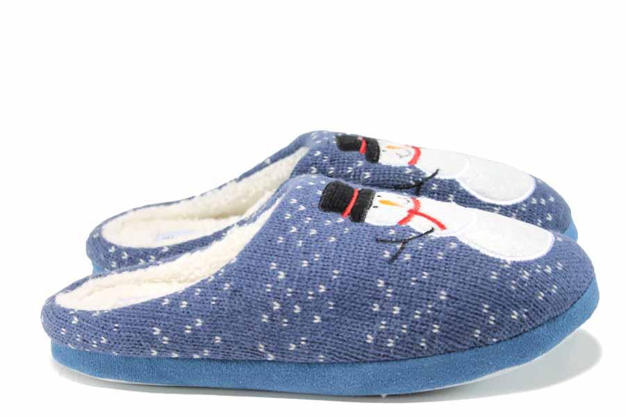 Дамски пантофи - висококачествен текстилен материал - сини - EO-11993