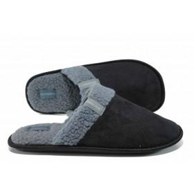 Мъжки чехли - висококачествен текстилен материал - черни - EO-11995