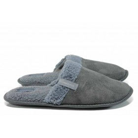 Мъжки чехли - висококачествен текстилен материал - сиви - EO-11996