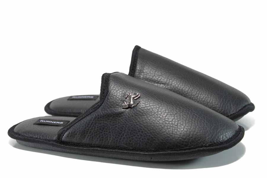Мъжки чехли - висококачествена еко-кожа - черни - EO-11998