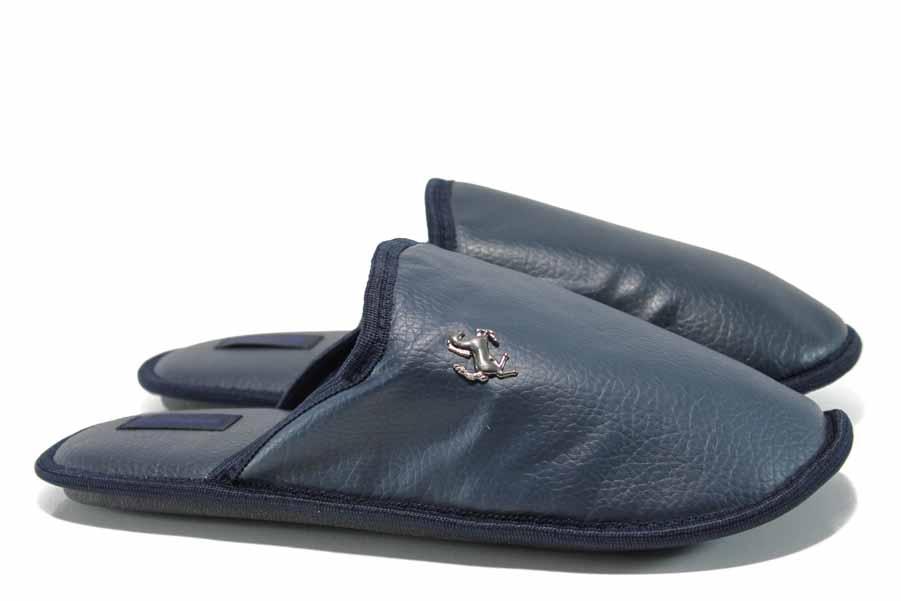 Мъжки чехли - висококачествена еко-кожа - сини - EO-11997