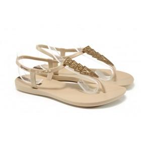 Дамски сандали - висококачествен pvc материал - бежови - EO-10719