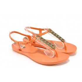 Дамски сандали - висококачествен pvc материал - оранжеви - EO-10718
