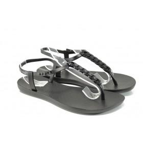 Дамски сандали - висококачествен pvc материал - черни - EO-10717