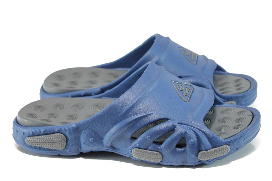 Мъжки чехли - висококачествен pvc материал - сини - EO-10895