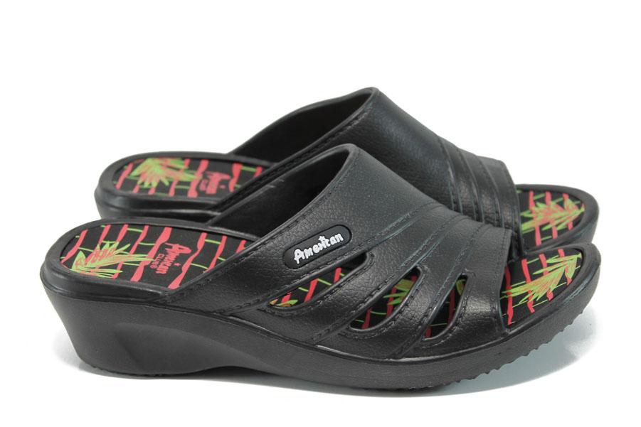 Дамски чехли - висококачествен pvc материал - черни - EO-10890