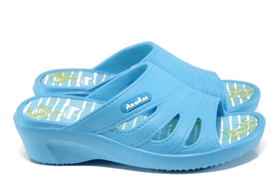 Дамски чехли - висококачествен pvc материал - сини - EO-10891