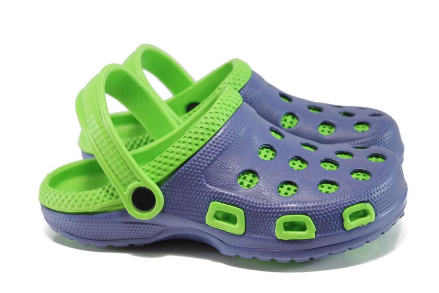 Дамски чехли - висококачествен pvc материал - сини - EO-10935