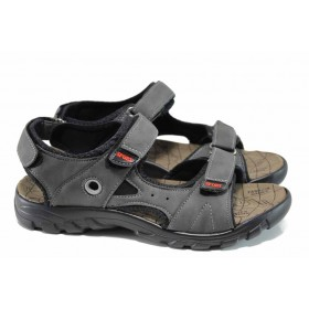 Мъжки сандали - висококачествена еко-кожа - сиви - EO-11180