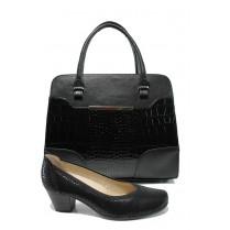 Дамска чанта и обувки в комплект -  - черни - EO-10093