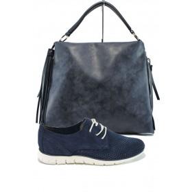 Дамска чанта и обувки в комплект -  - тъмносин - EO-10103