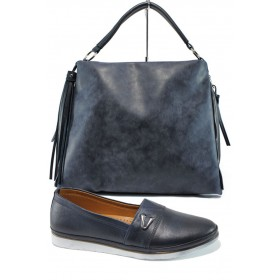 Дамска чанта и обувки в комплект -  - тъмносин - EO-10127