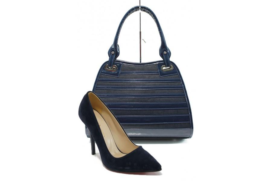 Дамска чанта и обувки в комплект -  - сини - EO-10141
