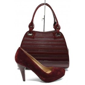 Дамска чанта и обувки в комплект -  - бордо - EO-10143