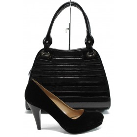 Дамска чанта и обувки в комплект -  - черни - EO-10146
