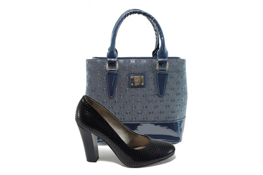 Дамска чанта и обувки в комплект -  - сини - EO-10157
