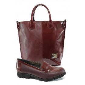 Дамска чанта и обувки в комплект -  - бордо - EO-10159