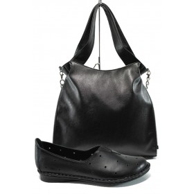 Дамска чанта и обувки в комплект -  - черни - EO-10167