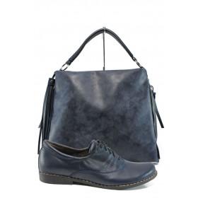 Дамска чанта и обувки в комплект -  - тъмносин - EO-10156