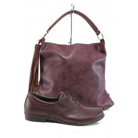 Дамска чанта и обувки в комплект -  - бордо - EO-10149