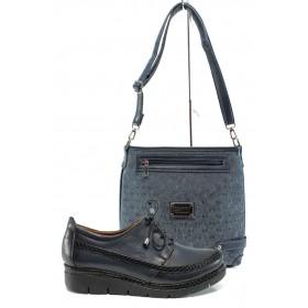 Дамска чанта и обувки в комплект -  - тъмносин - EO-10171