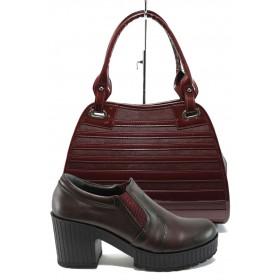 Дамска чанта и обувки в комплект -  - бордо - EO-10174