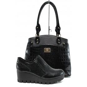 Дамска чанта и обувки в комплект -  - черни - EO-10177