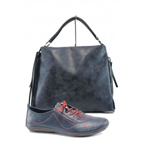 Дамска чанта и обувки в комплект -  - тъмносин - EO-10189