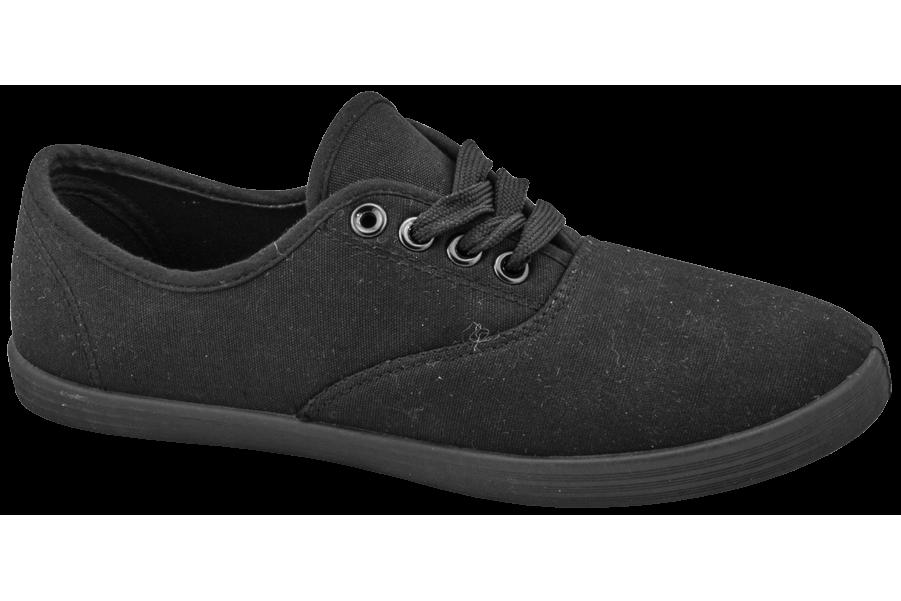 Дамски маратонки - висококачествен текстилен материал - черни - EO-10291