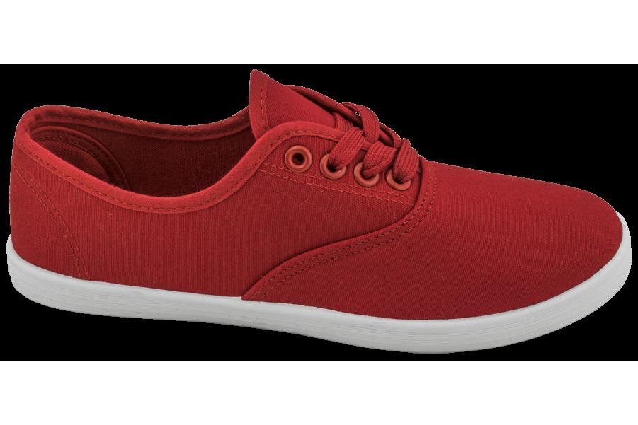 Дамски маратонки - висококачествен текстилен материал - червени - EO-10292