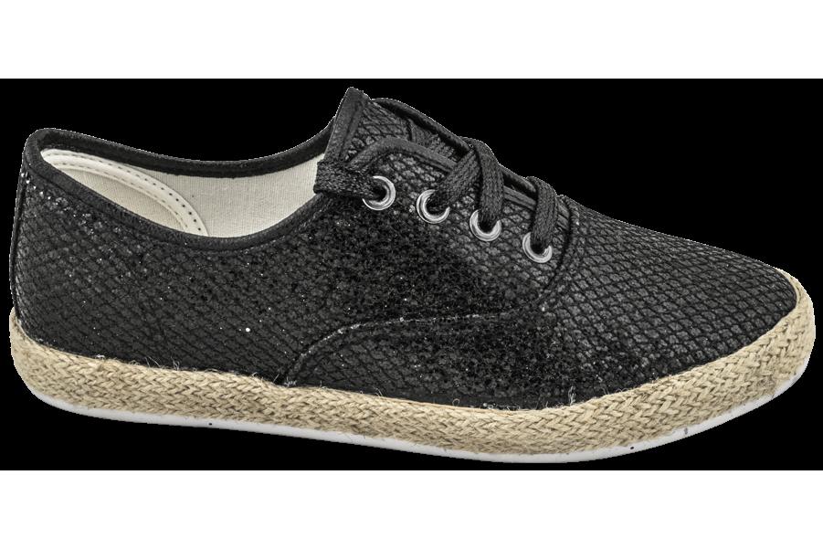 Дамски спортни обувки - текстилен материал с брокат - черни - EO-10322
